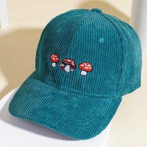 Corduroy Mushroom Embroidered Dad Hat - Deep Teal